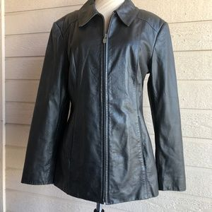 PRESTON AND YORK BLACK LEATHER JACKET SIZE M